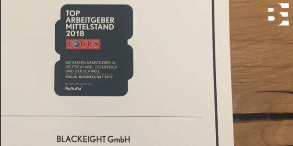 Die Markenberatung Blackeight ist Top Arbeitgeber Mittelstand laut Focus Online.